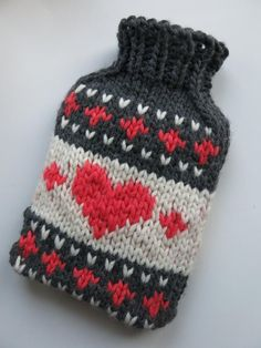 Hygge - Knitted Alpinist Hot Water Bottle Cover blue and creme with red hearts - fair-isle