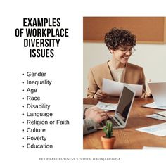 List of Diversity Issues   Examples of Workplace Diversity Issues in South Africa. South African businesses strive for diversity and inclusivity. They follow the guidance of policies like the Employment Equity Act and the BBBEE. Here are diversity issues that South African businesses have to deal with: Gender, Inequality, Age, Race, Disability, Language, Religion or Faith, Culture, Poverty, Education · Grade 12 Business Studies with Nonjabulo Tshabalala, South African Business Studies… Gender Inequality, Exam Papers, Business Studies, Information Graphics, Disability, Diversity, Workplace, South Africa, Religion