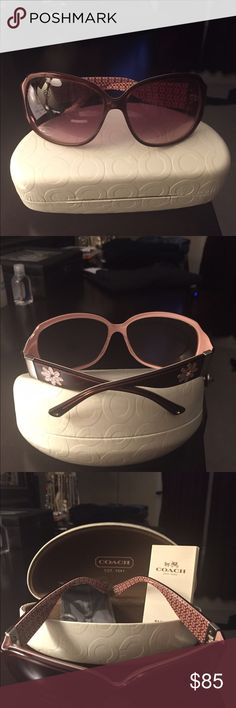 Coach sunglasses w/ white case Fun and summery pink & burgundy sunglasses.  With signature white case. Coach Accessories Sunglasses