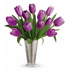 Pure lovely. Long-stemmed purple tulips are a tantalizing treat in our shimmering mercury glass vase. This bouquet is a timeless symbol of your singular love.