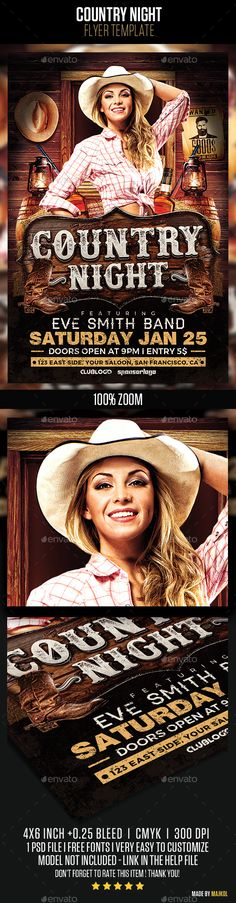 Country Night Flyer Template PSD. Download here: http://graphicriver.net/item/country-night-flyer-template-v2/14693100?ref=ksioks
