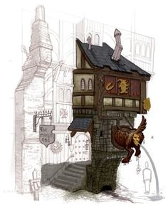 - Warhammer Online: Age of Reckoning Concept Art [I would Love The Artist If Anybody know's it. I've looked, but I can only find the art, just not the original Artist. Building Concept, Building Design, Environment Concept Art, Environment Design, Warhammer Online, Medieval Houses, Landscape Concept, Game Concept Art, Character Design References