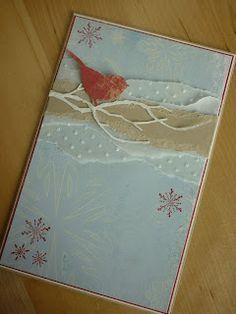 torn paper strips including dot embossed vellum...cute die cut bird on a delicate die cut branch...