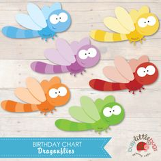 Dragonfly Birthday chart for teachers and child educators printables