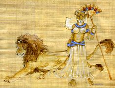 'Promenade' by Hbruton. The Goddess Sekhmet taking Her pet lion for a walk...