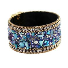 Ninfa B028 - Leather Coloured Crystal Bangle Bracelet 1edac8c1e018