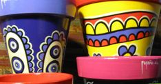 Ian Smith, Painted Flower Pots, Mexican, Art