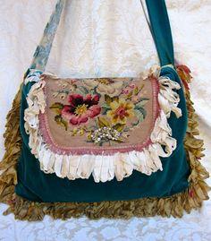 Vintage Velvet  Carpet Bag Blue/Green Vintage by LadidaHandbags, $155.00