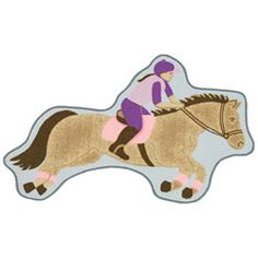 @Overstock.com - Funtime Children's Horse Rug (2'6 x 4') - Add playful fun to your childs room with this horse-shaped area rug from Funtime. This machine-made area rug will feature soft hues of brown, purple, and pink on a soft pile finish to create the perfect floor covering for your child to read or play on.  http://www.overstock.com/Home-Garden/Funtime-Childrens-Horse-Rug-26-x-4/5579491/product.html?CID=214117 $25.99