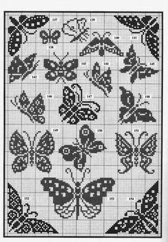 Mariposas Crochet Patterns Filet, Funny Cross Stitch Patterns, Crochet Motif, Cross Stitch Designs, Crochet Stitches, Butterfly Cross Stitch, Crochet Butterfly, Cross Stitch Heart, Knitting Charts