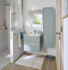 How to arrange a shower in a small bathroom? - Ikea DIY - The best IKEA hacks all in one place Aqua Bathroom, White Vanity Bathroom, Diy Bathroom Decor, Bathroom Furniture, Small Bathroom, Master Bathroom, Furniture Vanity, Bathroom Ideas, Vanity Backsplash