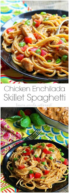 If you're looking for an easy skillet meal this Chicken Enchilada Skillet Spaghetti is a weeknight dinner recipe that combines enchiladas and spaghetti! Best Pasta Recipes, Spaghetti Recipes, Easy Dinner Recipes, Chicken Recipes, Cooking Recipes, Party Recipes, Dinner Ideas, Chicken Enchilada Skillet, Chicken Enchiladas