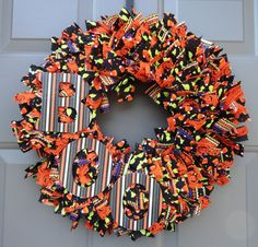 Your place to buy and sell all things handmade Rag Wreaths, Deco Mesh Wreaths, Halloween Fabric, Spooky Halloween, Fabric Wreath, Pinking Shears, Candy Corn, How To Make Wreaths, Fall Crafts