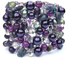 Purple Statement Bracelet Knitted Wire Cuff Bracelet by frenchsoul, $31.00
