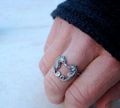 Kissing Seahorse Ring by KimberM on Etsy, $55.00