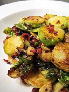 "#paleo Crispy brussels sprouts: 10 small brussels sprouts; 2 nitrate-free bacon, minced; 2 garlic cloves, thinly sliced; ¼ cup olive oil; 2 tablespoons rock salt, sea salt or ""Kosher"" salt; pepper"