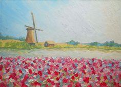 Original Impasto Landscape Windmill Meadow Flowers by FrozenLife