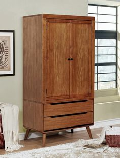 Lennart collection mid century modern oak finish wood clothing armoire stand alone closet cabinet. Features upper clothes cabinet and two lower drawers. Some assembly required. Stand Alone Closet, Furniture Of America, Furniture, Oak Furniture, Solid Wood Armoire, Clothes Cabinet, Wood Armoire, Modern Armoire, Closet Cabinets