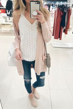 Spring outfit ideas - eyelet cami under fleece pink long cardigan on pinteresting plans fashion blog