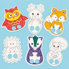 Baker Ross Woodland Animal Colour-in Finger Puppets Children's Craft Activities Kits Autumn (Pack of Kids Craft Sets, Craft Activities For Kids, Crafts For Kids, Paper Toy, Paper Puppets, Felt Finger Puppets, Hand Puppets, Animal Activities, Animal Crafts