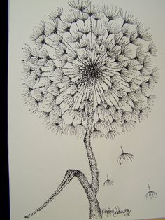 Dandelion Stippling Print by Eyeofthesparrow on Etsy Dandelion Drawing, Plant Drawing, Painting & Drawing, Drawing Step, Drawing Ideas, Dotted Drawings, Art Drawings, Flower Drawings, Stippling Drawing