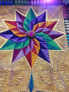 Detail ~ Pieced and quilted by Laura Trenbeath of Pavillion, WY. Best of Show at 2014 Mid-Atlantic Quilt Festival. Photos and blog post by Angela Huffman at Quilted Joy