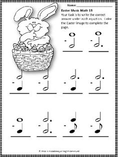 EASTER Music Math!  24 worksheets aimed at reinforcing students' understanding and knowledge of note and rest values.
