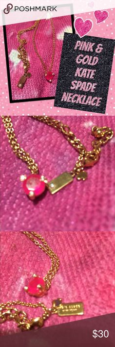 "Pink Jewel & Gold Kate Spade Necklace 20"" chain Kate spade solitaire necklace. Pink gemstone, gold chain and signature Kate Spade tag. kate spade Jewelry Necklaces"