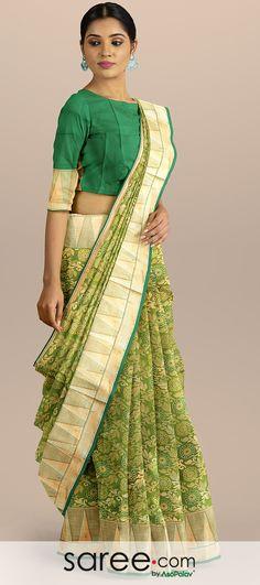 Green Kanchipuram Art Silk All Over Floral Woven Saree