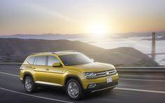 Volkswagen Atlas, 2017, SUVs, 4K, yellow Volkswagen