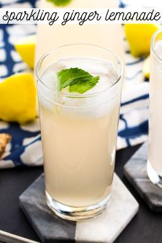 Fresh ginger and club soda make this sparkling ginger lemonade a warm weather treat! An easy ginger simple syrup both sweetens this homemade lemonade recipe and provides just enough of a ginger flavor without a bite. Flavored Lemonade, Homemade Lemonade Recipes, Ginger Lemonade, Ginger Drink, Ginger Syrup, Ginger Ale, Fresh Ginger, Ginger Soda, Club Soda Recipe