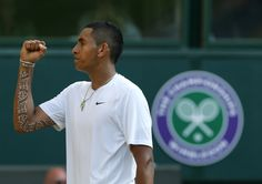 Nick  Kyrgios, a tennis player with magic tape on his right arm