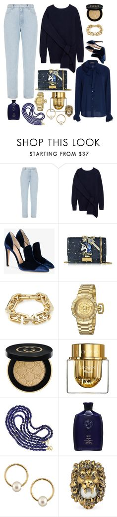 """Navy + Gold"" by cherieaustin on Polyvore featuring Ksenia Schnaider, Zac Posen, 3.1 Phillip Lim, Gianvito Rossi, GEDEBE, Marc Jacobs, Gucci, Christian Dior, Valentin Magro and Oribe"