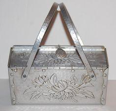 Rare Hammered Aluminum Handbag Box Purse by WaikikiKitsch on Etsy