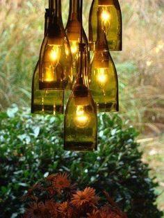 Related Images of Recycled Wine Bottle Chandelier DIY Empty Wine Bottles, Wine Bottle Art, Lighted Wine Bottles, Bottle Lights, Wine Bottle Crafts, Diy Bottle, Wine Bottle Lighting, Diy Wine Bottle Bird Feeder, Bottle Trees
