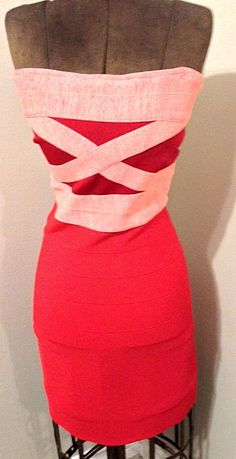 Guess Los Angeles Red BodyCon Designer Strapless Party Dress | eBay