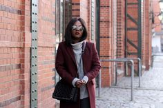 GREY SWEATER AND BORDEAUX COAT / by EmmaBrown