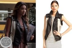 Shop Your Tv: Pretty Little Liars: Season 4 Episode 12 Emily's Black and White Leather Vest Leather Vest, White Leather, Pretty Little Liars Seasons, Shay Mitchell, Fashion Tv, Season 4, Happy Smile, Black And White, Shopping