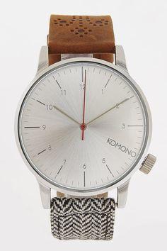 The Winston Galore Walnut Herringbone Watch - Komono - Watches : JackThreads