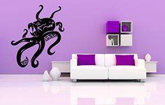 Wall Vinyl Sticker Decals Mural Room Design Pattern Octopus Tentacles Fish Octopus Ocean Sea bo659