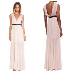 Pre-owned Alice + Olivia Nude & Black Nwot + Kendrick Leather-waist... (€140) ❤ liked on Polyvore featuring dresses, gowns, preowned evening gowns, sequin evening gowns, sequin evening dresses, leather gown and chiffon dress