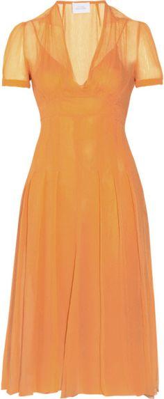 Luisa Beccaria Orange Crinkled Silkchiffon Dress