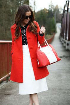 I really love the bright red and the contrast with white and navy.