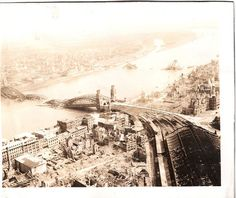 The railroad bridge running across the centre of Cologne collapsed into the river thanks to Allied bombing attacks during WWII Railroad Bridge, Cologne Germany, Old Pictures, Historical Photos, World War Ii, Wwii, Paris Skyline, Europe, History