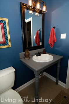 How to build a bathroom vanity from an old kitchen table