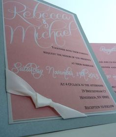 Wedding Invitation with ribbon in pink and grey or your by Mazoria, $4.50