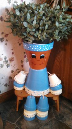 'Flower Pot Person Planter' - made by RusticMtnGirlCrafts on Etsy