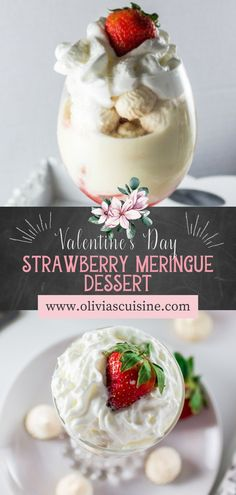 Strawberry Meringue Dessert | www.oliviascuisine.com | Decadent and delicious 4 layer dessert made with strawberries, meringue cookies, whipped cream and a cream made with milk, yolks and sweet condensed milk! Yum! This is the perfect individual dessert recipe for Valentine's Day! #strawberrymeringue #valentinesdessert Party Desserts, Holiday Desserts, No Bake Desserts, Dessert Recipes, Strawberry Meringue, Strawberry Desserts, Meringue Desserts, Meringue Cookies, Layered Desserts
