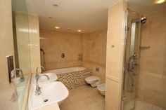 beige travertine wall tile in bathrooms - Google Search