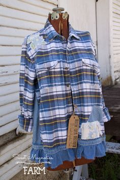 Farm Girl Fancies Upcycled Flannel Shirt / Jackets by: Sweet Magnolias Farm now in our Etsy Shop ..
